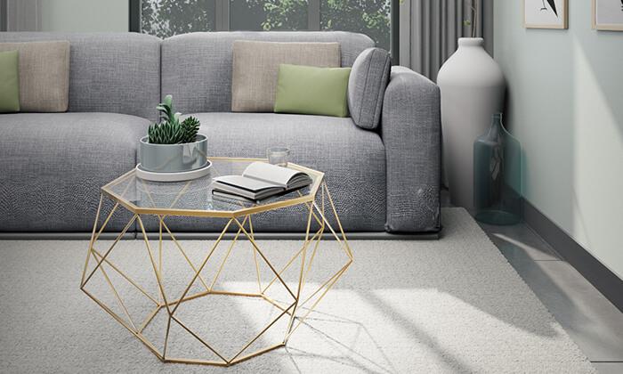 2 שולחן סלון דגם יהלום עם פלטת זכוכית וגוף מתכת