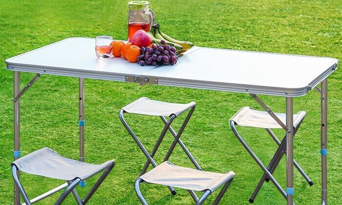 2 שולחן פיקניק מתקפל עם 4 כיסאות