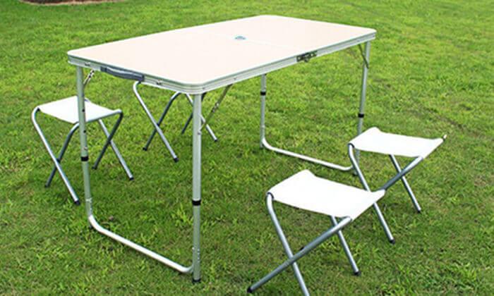 4 שולחן פיקניק מתקפל עם 4 כיסאות