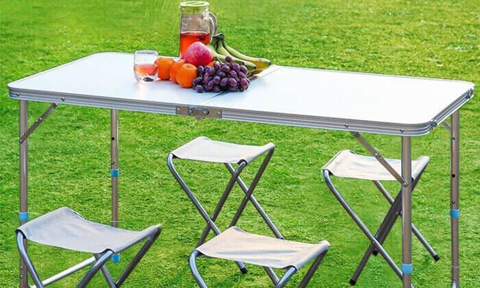 5 שולחן פיקניק מתקפל עם 4 כיסאות