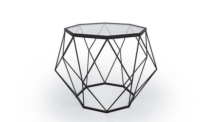 4 שולחן סלון דגם יהלום עם פלטת זכוכית וגוף מתכת
