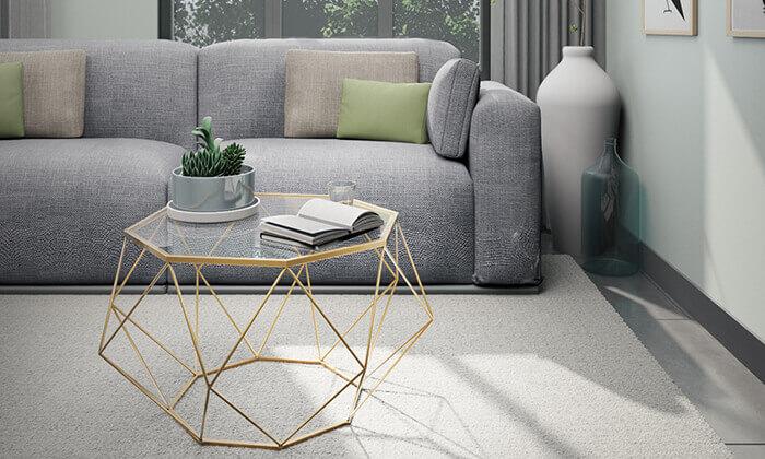 3 שולחן סלון דגם יהלום עם פלטת זכוכית וגוף מתכת