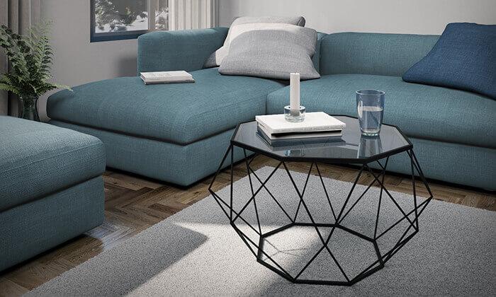 5 שולחן סלון דגם יהלום עם פלטת זכוכית וגוף מתכת