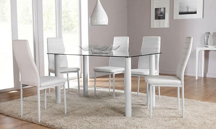 2 פינת אוכל עם 6 כיסאות מרופדים, דגם DAZA0308