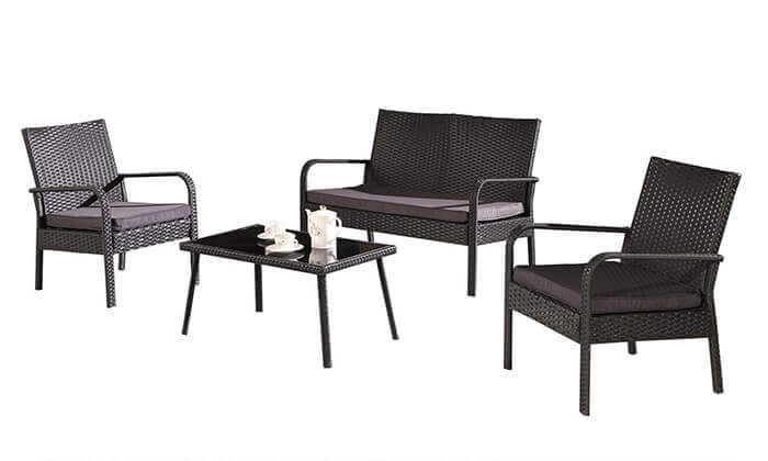 4 מערכת ישיבה לחצר, סט 4 חלקים מראטן