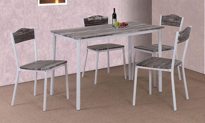 4 פינת אוכל הכוללת שולחן ו-4 כיסאות
