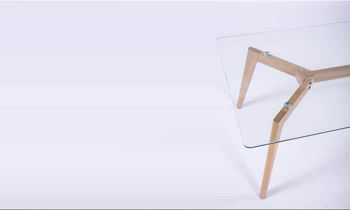 4 שולחן סלון מלבני עם פלטה מזכוכית