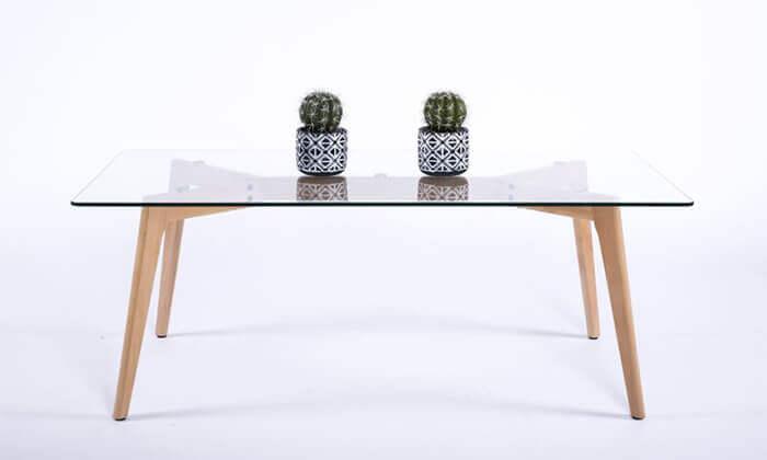 8 שולחן סלון מלבני עם פלטה מזכוכית