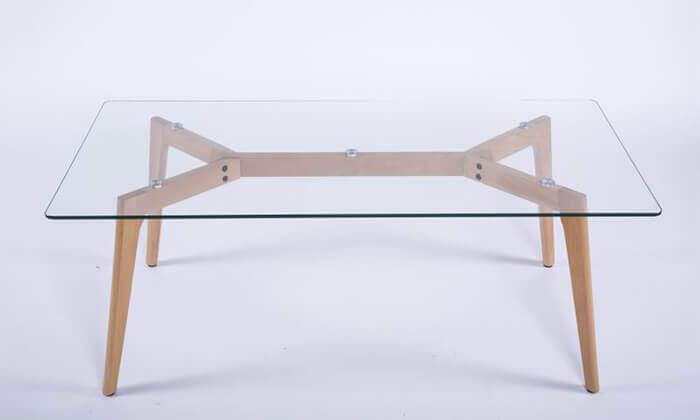 3 שולחן סלון מלבני עם פלטה מזכוכית
