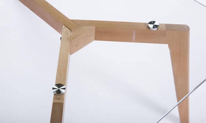 6 שולחן סלון מלבני עם פלטה מזכוכית
