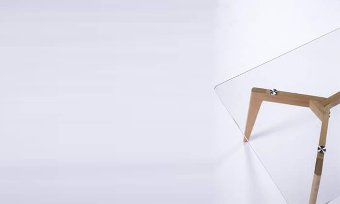 7 שולחן סלון מלבני עם פלטה מזכוכית