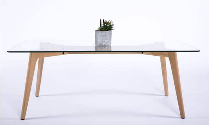 5 שולחן סלון מלבני עם פלטה מזכוכית