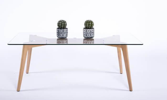 2 שולחן סלון מלבני עם פלטה מזכוכית