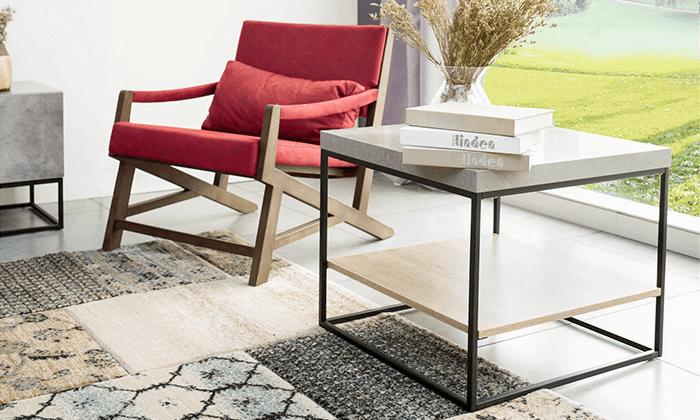 2 שולחן קפה מרובע כולל מדף תחתון
