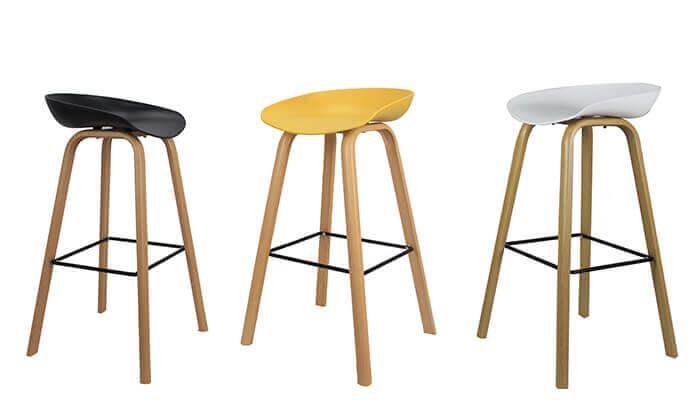 2 כיסא בר בעיצוב סקנדינבי נמוך