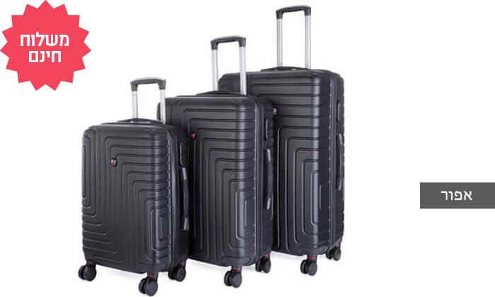 4 שלישיית מזוודות POLO SWISS קשיחות I משלוח חינם