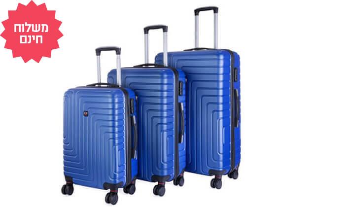 5 שלישיית מזוודות POLO SWISS קשיחות I משלוח חינם