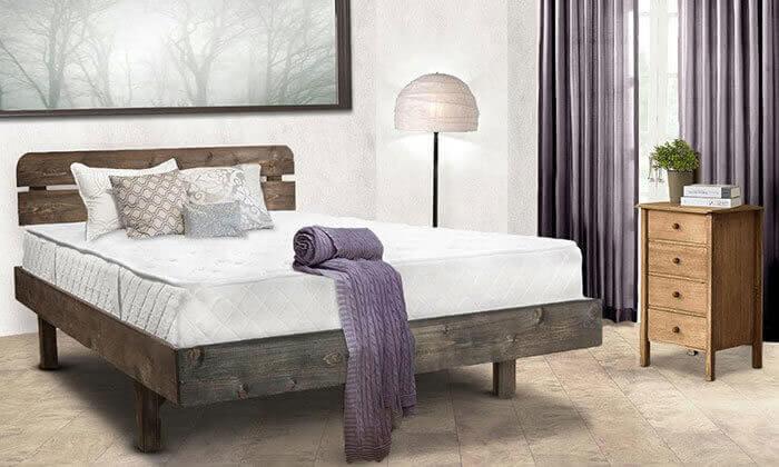 4 מיטה זוגית מעץ מלא, כולל מזרן אורתופדי במתנה