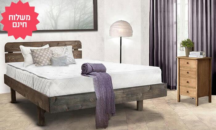 4 מיטה זוגית מעץ מלא, כולל מזרן אורתופדי במתנה - משלוח חינם