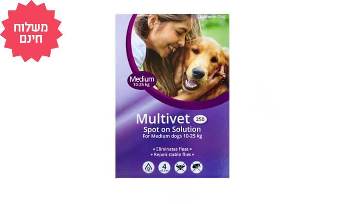 6 חבילת 4 אמפולות Multivet נגד פרעושים בכלבים | משלוח חינם
