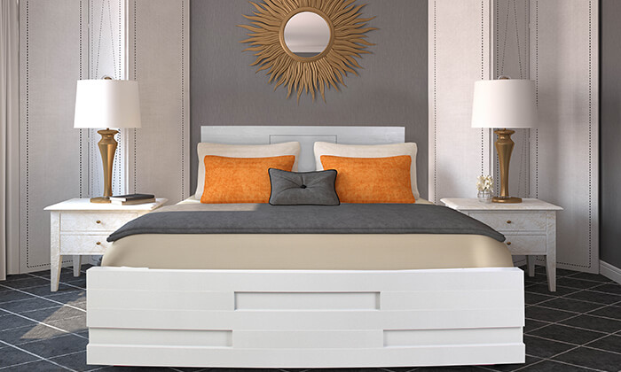 4 מיטה זוגית עם בסיס עץ מלא