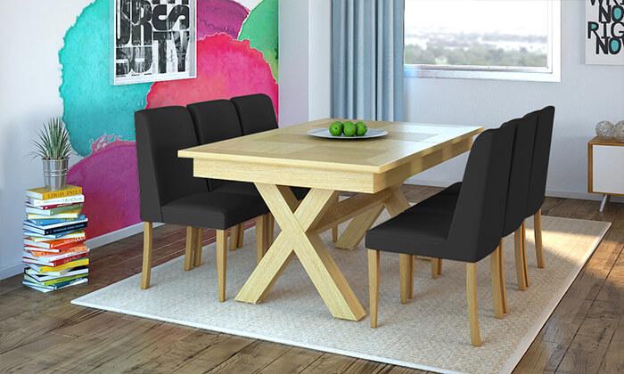 6 שמרת הזורע: פינת אוכל נפתחת עם שולחן מלבני ו-6 כיסאות