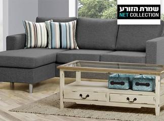 ספה פינתית עם שזלונג דגם 'מור'