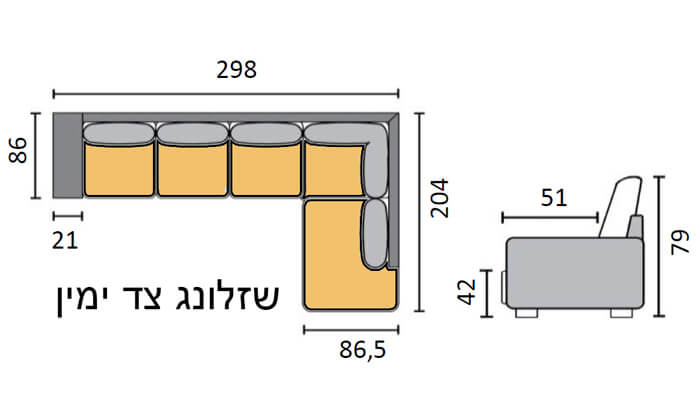 3 שמרת הזורע: ספה פינתית גדולה עם שזלונג
