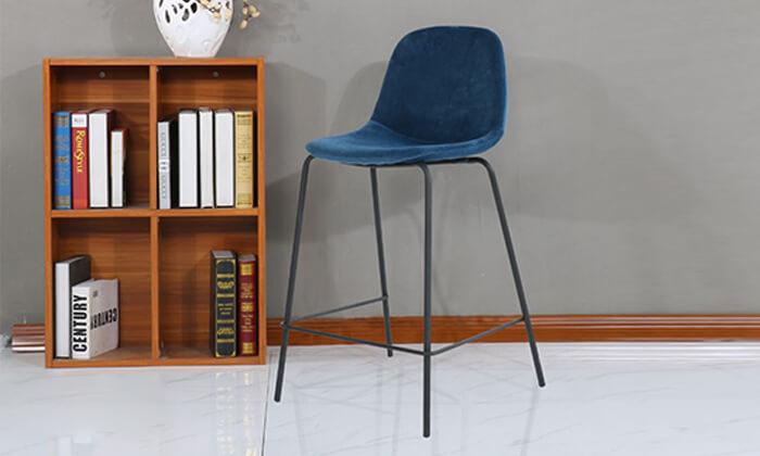 8 כיסא בר בריפוד קטיפה