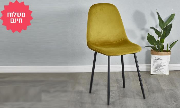 5 כיסא לפינת אוכל בריפוד קטיפה - משלוח חינם
