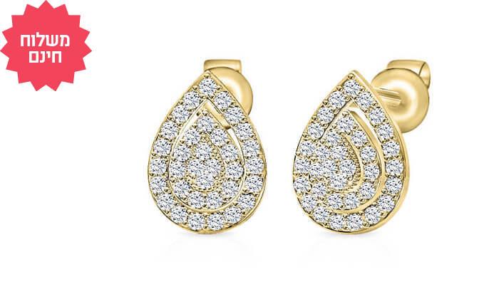 2 עגילי יהלומים בעיצוב טיפה 14K