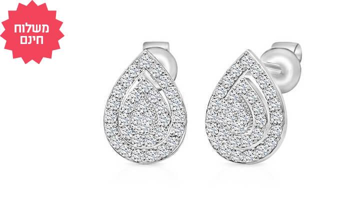 4 עגילי יהלומים בעיצוב טיפה 14K