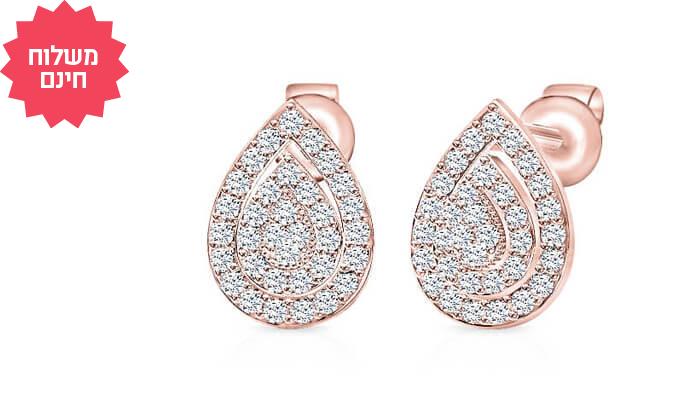 5 עגילי יהלומים בעיצוב טיפה 14K