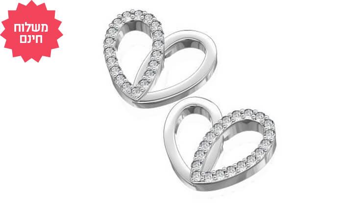 2 עגילי יהלומים צמודים לבבות 14K