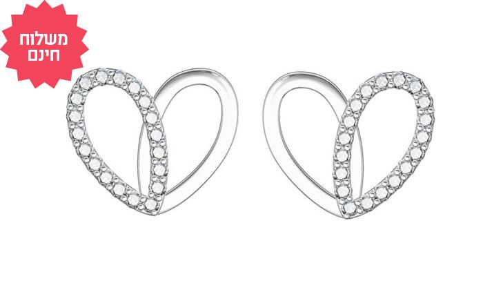 3 עגילי יהלומים צמודים לבבות 14K