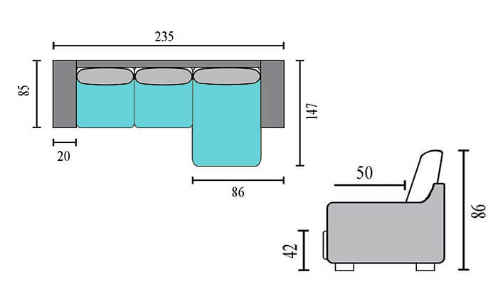 4 שמרת הזורע: ספה פינתית עם שזלונג