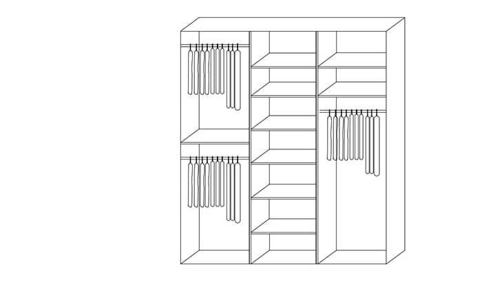 4 ארון הזזה ריביירה עם 3 דלתות