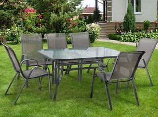 פינת אוכל עם 6 כיסאות לגינה