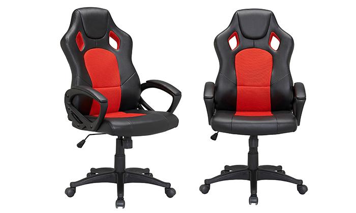 3 כיסא גיימינג עם ריפוד דמוי עור