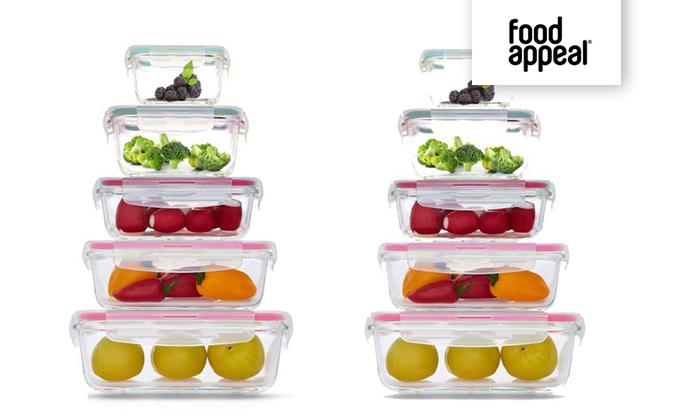 2 מארז 10 קופסאות אחסון GlassCloc של Food Appeal, כולל משלוח חינם