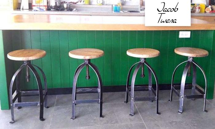 2 כיסא בר ברזל טבעי