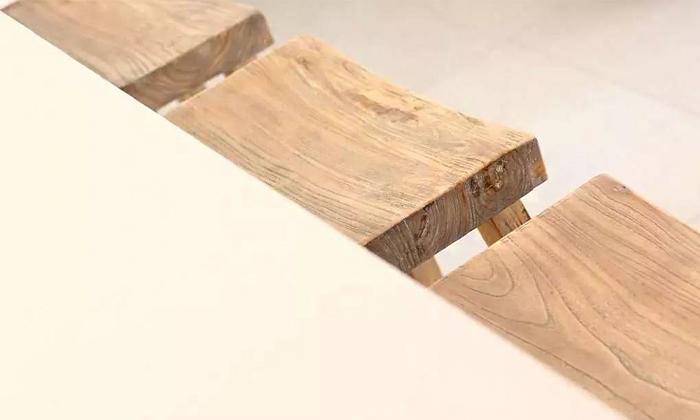 5 כיסא בר דמוי שרפרף מעץ טבעי