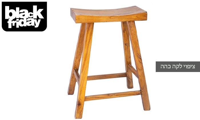 4 כיסא בר דמוי שרפרף מעץ טבעי