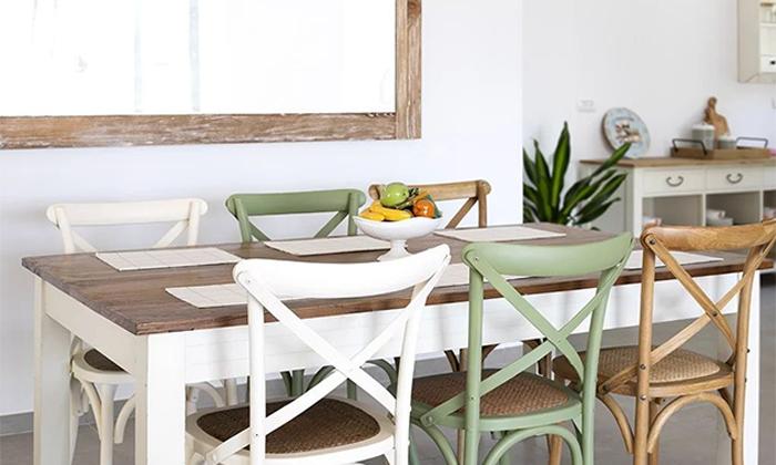 11 כיסא מעץ מלא לפינת האוכל