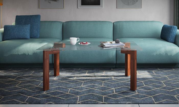2 שולחן קפה עם פלטת זכוכית מחוסמת