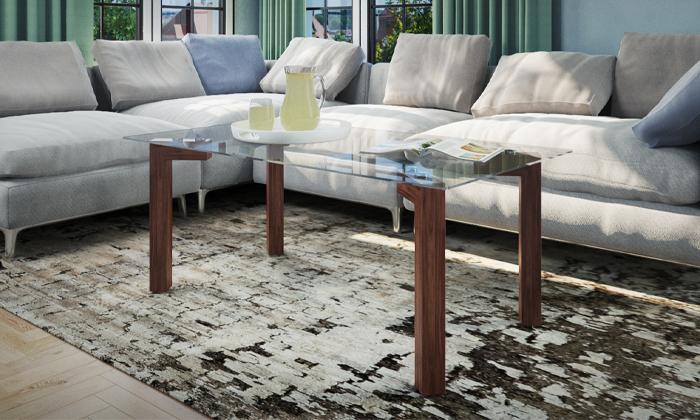4 שולחן קפה עם פלטת זכוכית מחוסמת