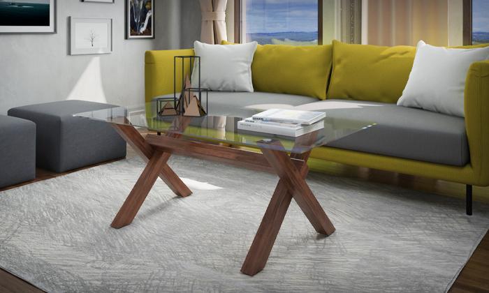 4 שולחן סלון עם פלטת זכוכית