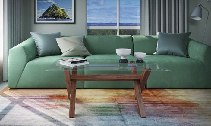 2 שולחן סלון עם פלטת זכוכית