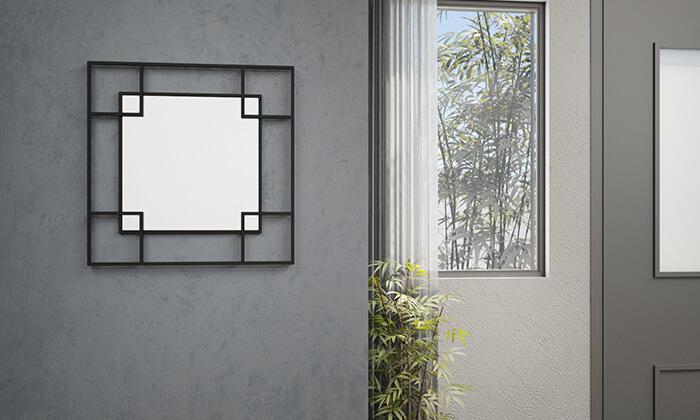2 מראת קיר עם מסגרת מרובעת