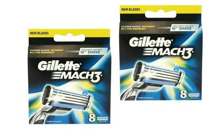 2 מארז 16 סכיני גילוח Gillette Mach 3 ג'ילט, משלוח חינם